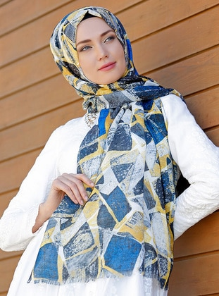 Blue - Multi - Printed - Cotton - Shawl - Şal Evi