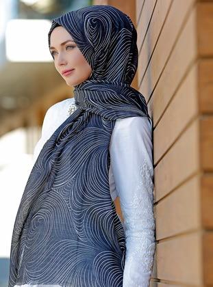 Black - Multi - Printed - Cotton - Shawl - Şal Evi
