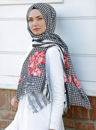 Red - Multi - Printed - Cotton - Shawl - Şal Evi