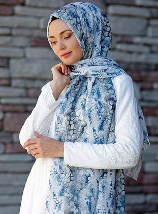 Gray - Multi - Printed - Cotton - Shawl - Şal Evi