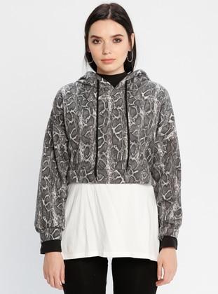 Leopard - Gray - Sweat-shirt