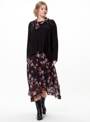 Black - Multi - Plus Size Skirt