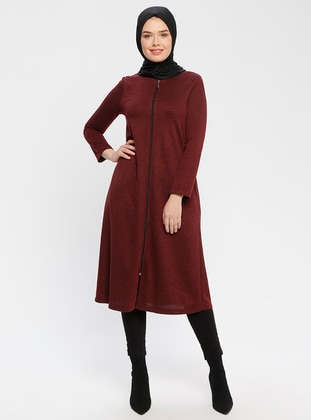 Maroon - Fully Lined - Crew neck - Topcoat