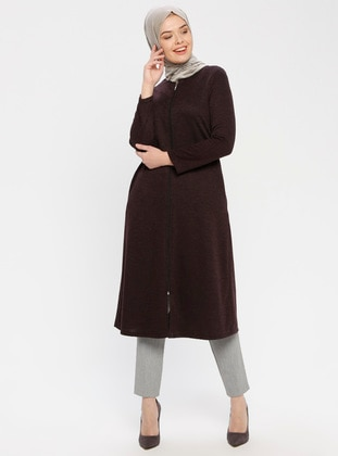 Plum - Fully Lined - Crew neck - Topcoat