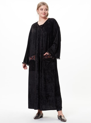 Black - Plus Size Cardigan - Zer Otantik