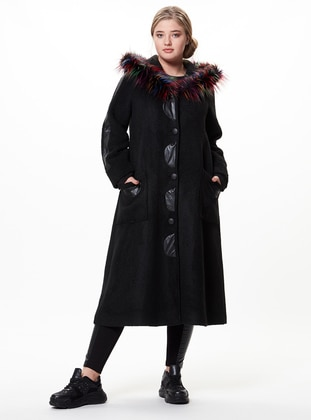 Black - Plus Size Overcoat - Zer Otantik