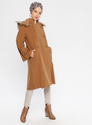 Tan - Fully Lined - Crew neck - Coat - Loreen By Puane
