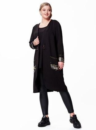 Black - V neck Collar - Plus Size Coat