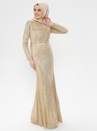 Gold - Stripe - Fully Lined - Crew neck - Muslim Evening Dress