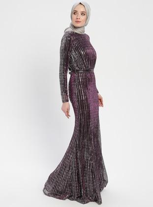 Purple - Stripe - Crew neck - Muslim Evening Dress