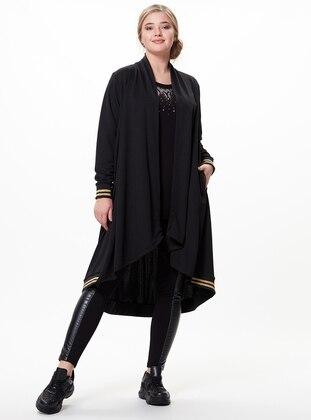 Black - Shawl Collar - Plus Size Coat