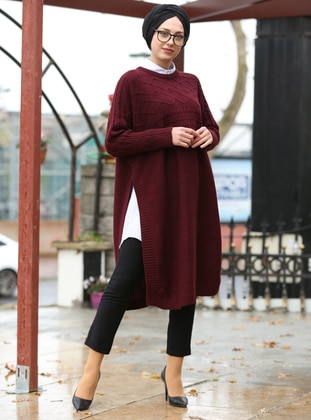 Maroon - Crew neck - Unlined - - Poncho