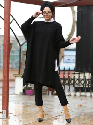 Black - Crew neck - Unlined -  - Poncho - İnşirah