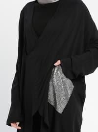 Black - V neck Collar - Viscose - Tunic