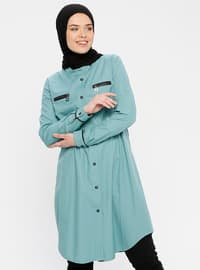 Blue - Turquoise - Button Collar - Tunic
