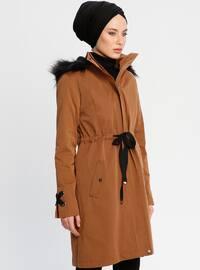 Tan - Fully Lined - Polo neck - Coat