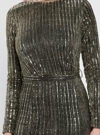 Khaki - Stripe - Crew neck - Muslim Evening Dress