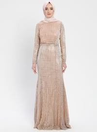 Powder - Stripe - Crew neck - Muslim Evening Dress