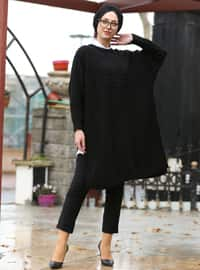 Black - Crew neck - Unlined -  - Poncho