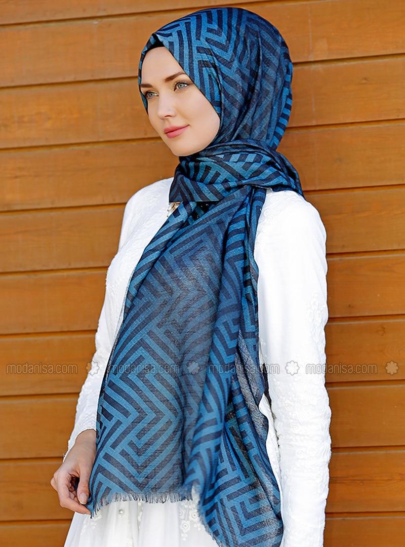 Blue - Multi - Turquoise - Printed - Cotton - Shawl