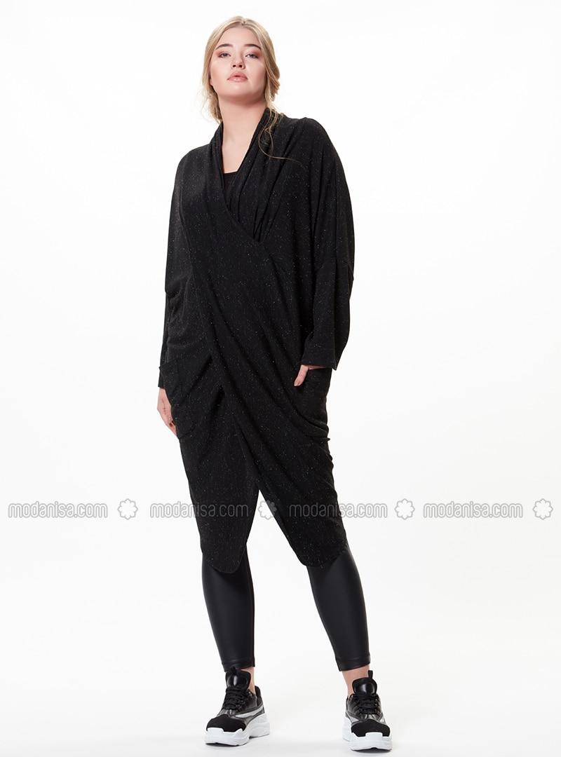 Black - V neck Collar - Plus Size Tunic