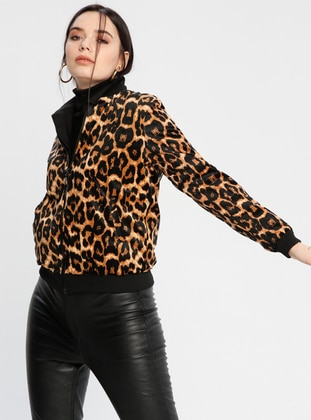 Brown - Leopard - Fully Lined - Crew neck - Jacket