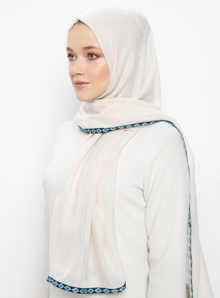 Beige - Patterned Side - Shawl