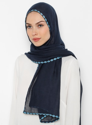 Navy Blue - Patterned Side - Shawl