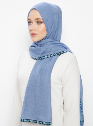 Blue - Patterned Side - Shawl