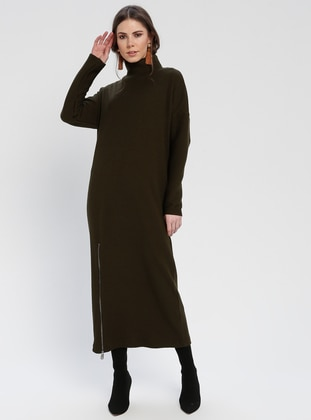 Khaki - Polo neck - Unlined - Dresses