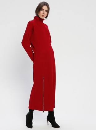 Red - Polo neck - Unlined - Dresses