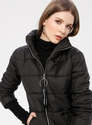 Black - Fully Lined - Polo neck - Puffer Jackets