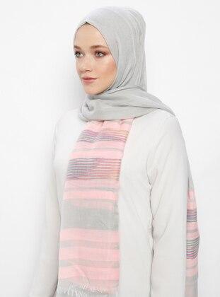 Pink - Striped - Shawl
