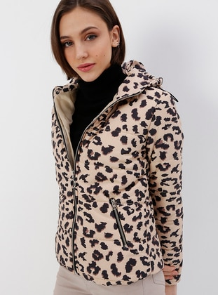 Brown - Beige - Leopard - Fully Lined - Puffer Jackets