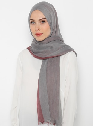 Gray - Maroon - Striped - Shawl