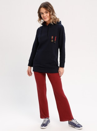 Cotton - Navy Blue - Sweat-shirt -  FOR YOUNG