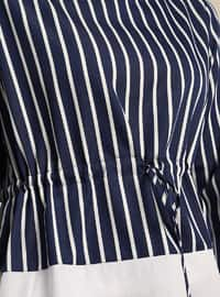 Navy Blue - Stripe - Crew neck - Tunic