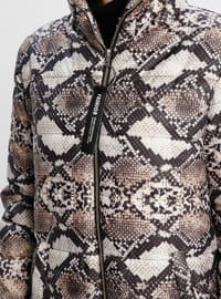 Beige - Leopard - Fully Lined - Polo neck - Puffer Jackets