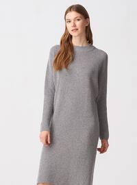 Gray - Crew neck - Unlined -  - Dresses