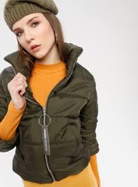 Khaki - Fully Lined - Polo neck - Puffer Jackets