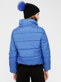 Blue - Indigo - Fully Lined - Polo neck - Puffer Jackets
