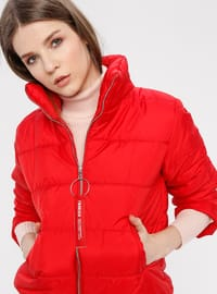 Red - Fully Lined - Polo neck - Puffer Jackets