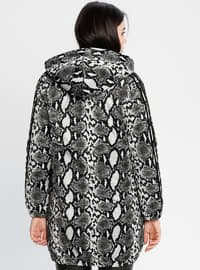 Gray - Leopard - Fully Lined - Puffer Jackets