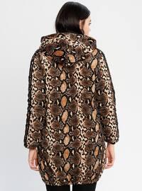 Beige - Leopard - Fully Lined - Puffer Jackets