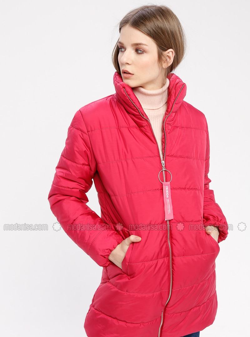 Pink - Fully Lined - Polo neck - Puffer Jackets