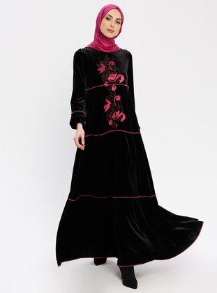Black - Fuchsia - Crew neck - Unlined - Dresses
