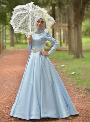 Blue - Fully Lined - Crew neck - Muslim Evening Dress - My Dream Collection