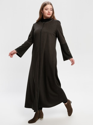 Khaki - Crew neck - Unlined - Plus Size Abaya - Jamila