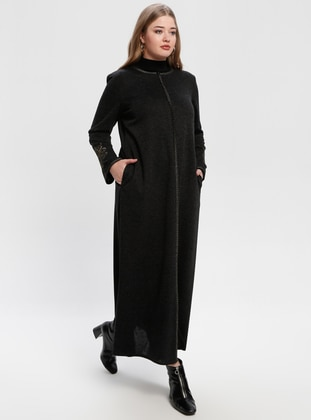 Black - Crew neck - Unlined - Plus Size Abaya - Jamila