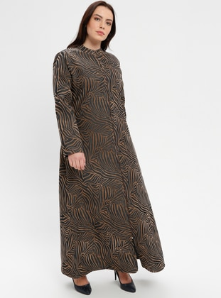 Brown - Multi - Crew neck - Unlined - Plus Size Abaya